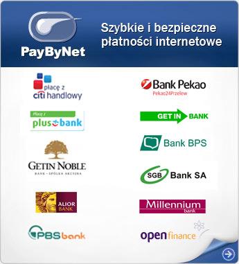PayByNet - szybkie przelewy/płatności internetowe bezpośrednio na rachunek sklepu. Transakcje wspólnie z bankami uczestniczącymi w usłudze obsługuje Krajowa Izba Rozliczeniowa S.A.